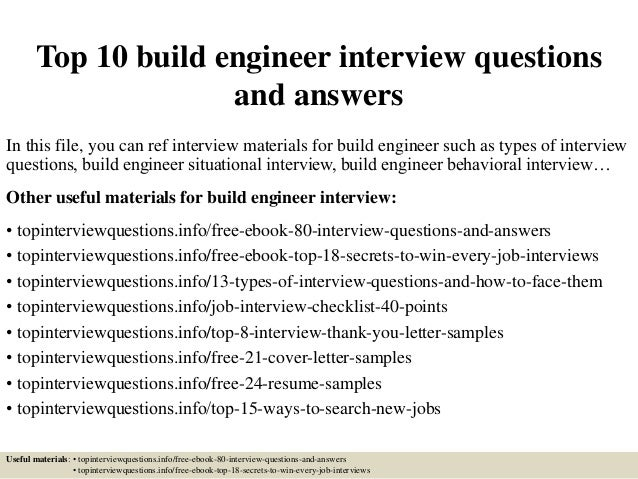 Top 10 build engineer interview questionsand answersin this file you
