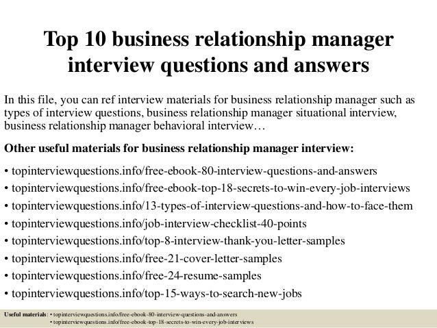 top 10 business relationship manager interview questions