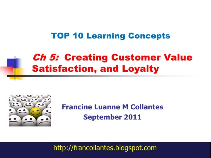 Ch 5:  Creating Customer Value Satisfaction, and Loyalty<br />TOP 10 Learning Concepts <br />Francine Luanne M Collantes<b...