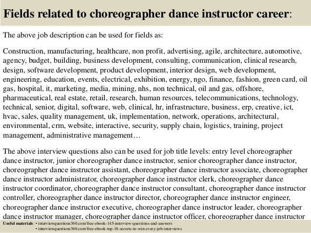dance instructor job description teacher job description for