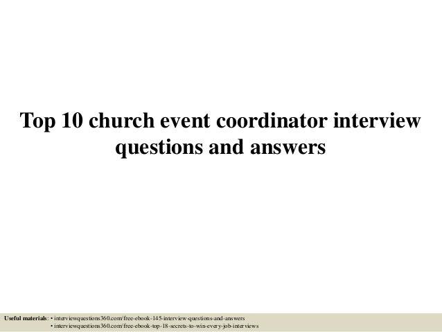 Church Event Coordinator Top 10 Church Event