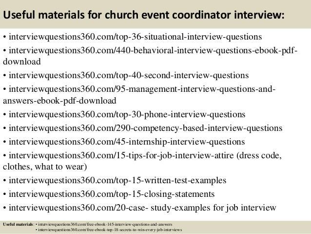Church Event Coordinator Church Event Coordinator