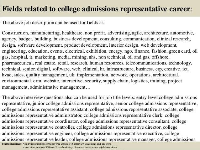 Cover letter admissions representative
