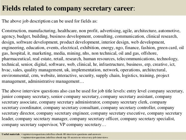top 10 company secretary interview questions and answers