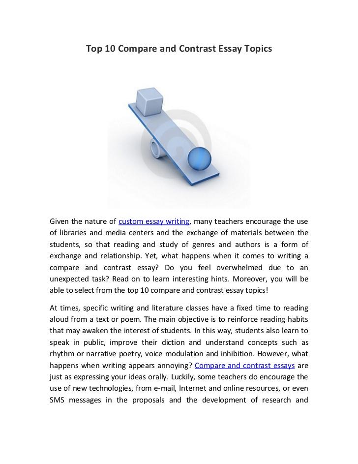english compare and contrast essay topics