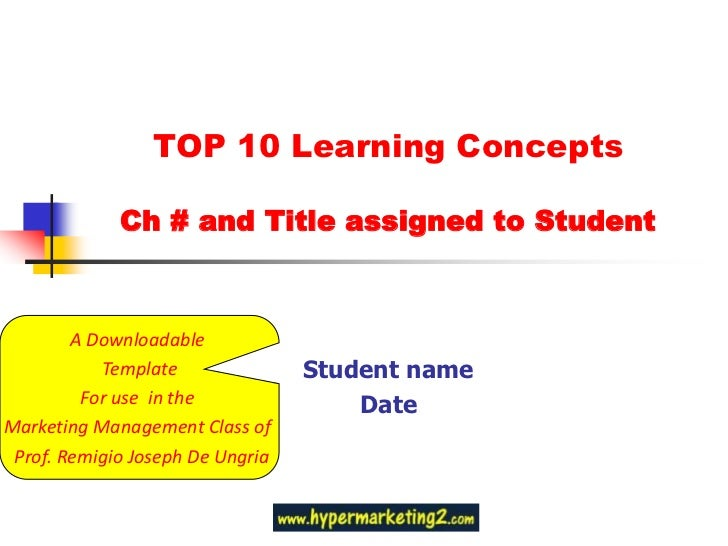 TOP 10 Learning Concepts Ch # and Title assigned to Student<br />Student name<br />Date<br />A Downloadable <br />Template...