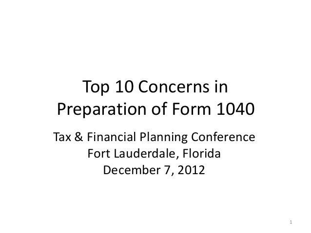 Top 10 Concerns in Preparation of Form 1040
