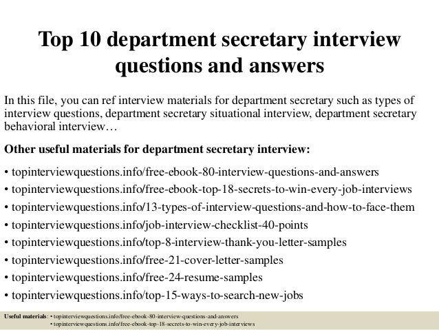 Top 10 department secretary interview questions and answers