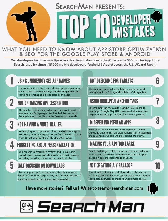 Top 10 Developer Mistakes & Tips for Mobile SEO in Google Play - Android [Infographic by SearchMan.com]