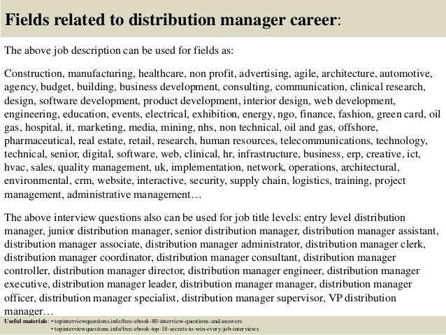 Distribution director resume