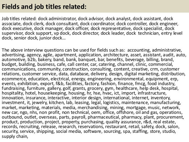 Dock clerk coordinator resume