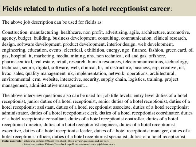 top duties of a hotel receptionist interview questions and answers  18 fields related to duties of a hotel receptionist