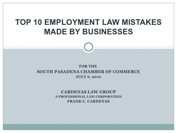 Top 10 Employment Law Mistakes Made By Businesses