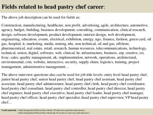 Pastry chef research paper