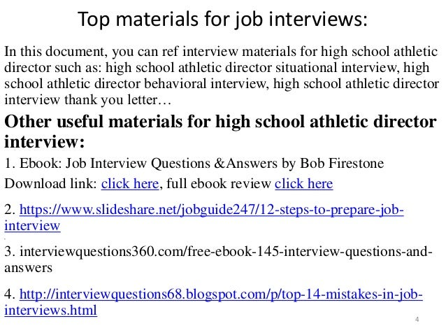 top 10 high school athletic director interview questions