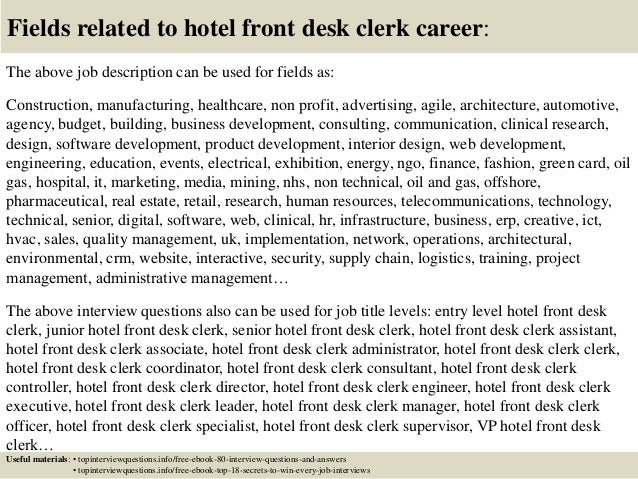 Hotel Desk Clerk Cover Letter