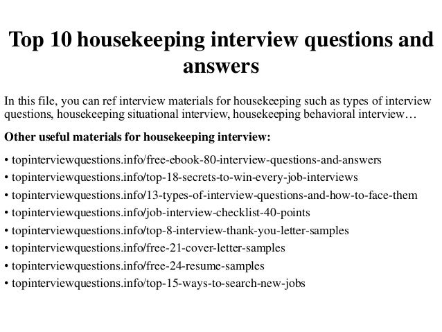 housekeeping questions Clean up your credentials to get hired as a housekeeper  housekeeping resume sample  interview questions.