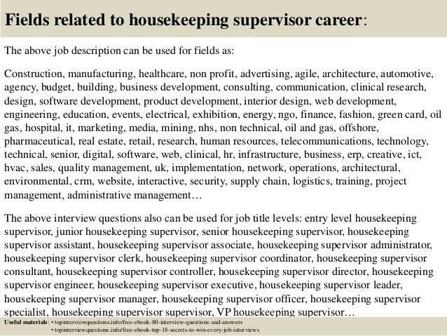 top 10 housekeeping supervisor questions and answers