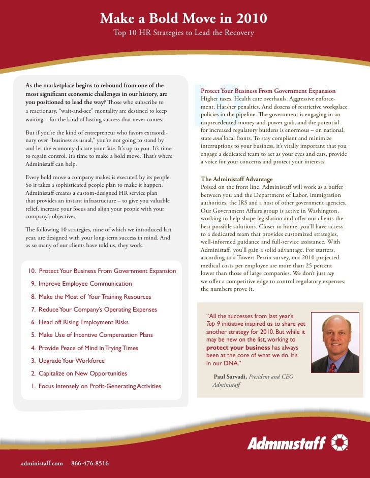 Make a Bold Move in 2010                                        Top 10 HR Strategies to Lead the Recovery                 ...