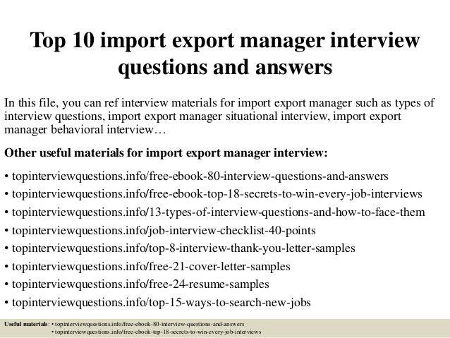 Resume of import executive