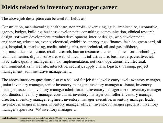 inventory manager job description inventory specialist inventory ...