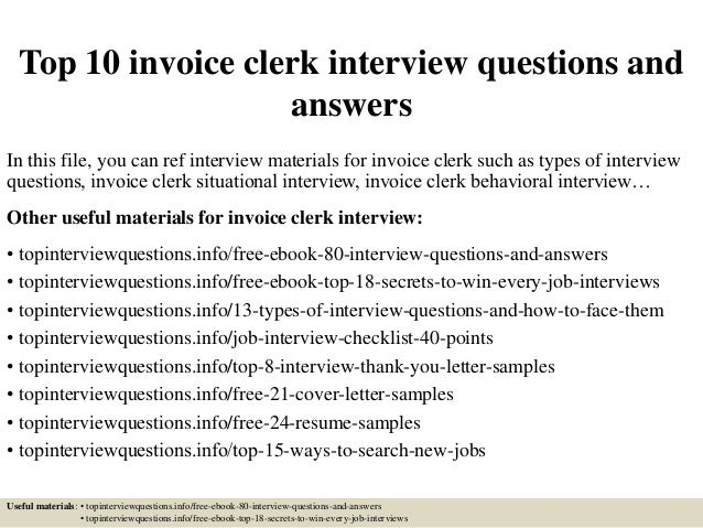 Top 10 Invoice Clerk Interview Questions And Answers