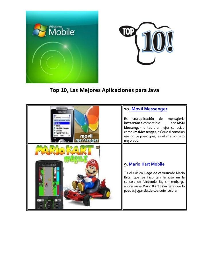 Top 10, Las Mejores Aplicaciones para Java                            10. Movil Messenger                            Es un...
