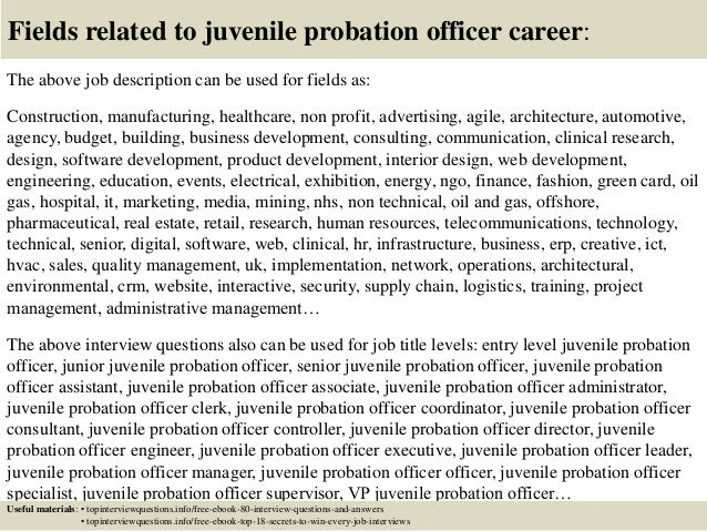 juvenile probation officer research paper Probation officers serve an essential function in the criminal justice system, monitoring offenders placed on probation they help set rehabilitation plans and meet with the offenders to ensure they're following the rules of their probation and that they aren't a safety threat to the community shadowing a probation officer helps.