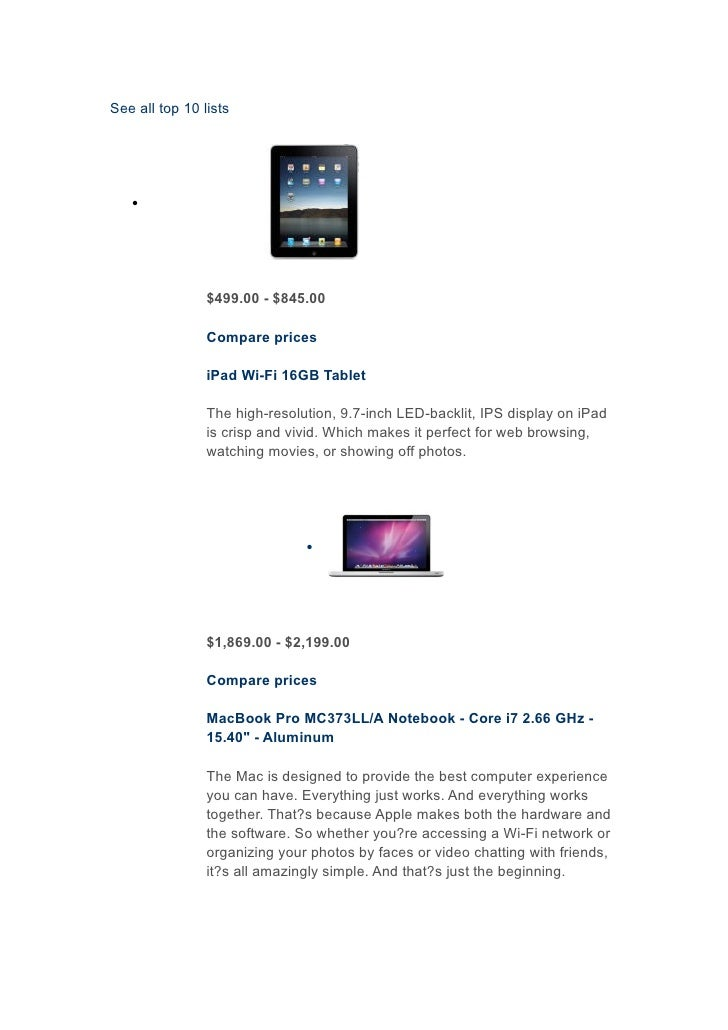 See all top 10 lists        •                     $499.00 - $845.00                  Compare prices                  iPad ...
