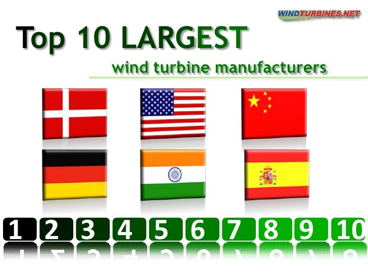 1<br />2<br />3<br />4<br />5<br />6<br />7<br />8<br />Top 10 LARGEST<br />wind turbine manufacturers<br />9<br />10<br />