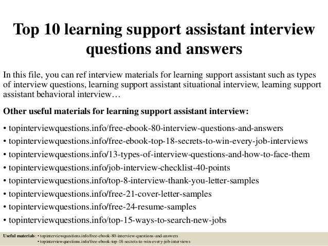 top 10 learning support assistant interview questions and