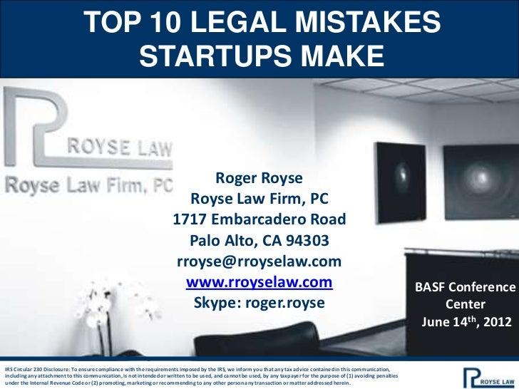 TOP 10 LEGAL MISTAKES                                   STARTUPS MAKE                                                     ...