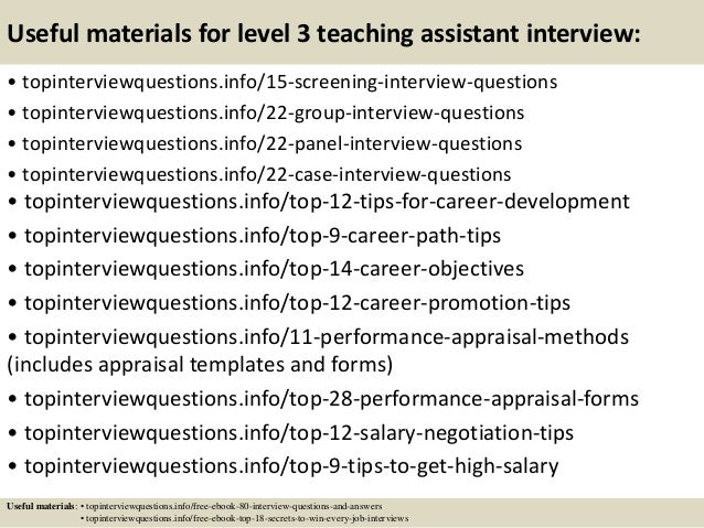 Top 10 Level 3 Teaching Assistant Interview Questions And