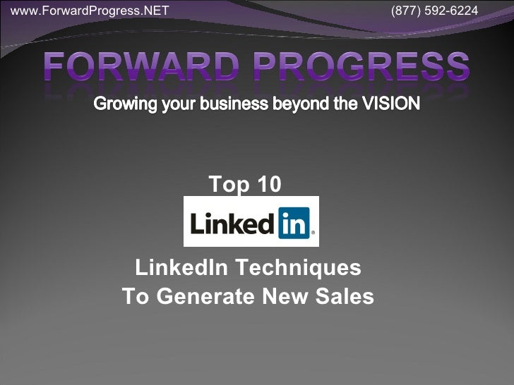 Top 10 LinkedIn Techniques to Generate New Sales - all new 2010