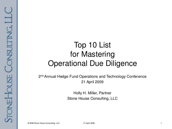 Top 10 List for Mastering Operational Due Diligence