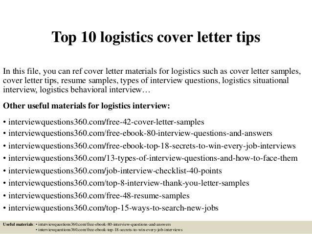 Cover letter for logistics