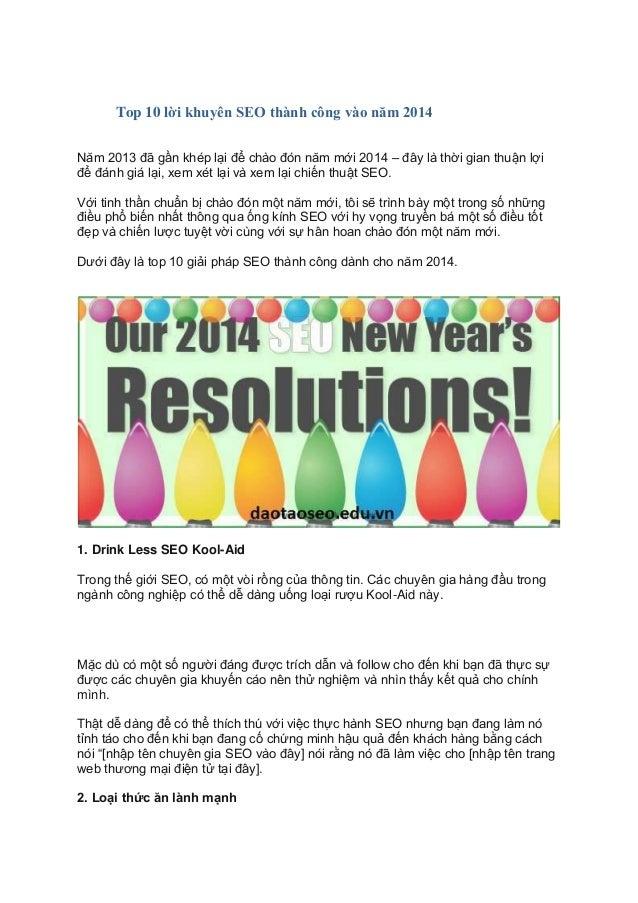 Top 10 lời khuyên SEO thành công vào năm 2014