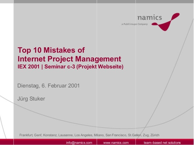 Top 10 Mistakes of Internet Project Management (2001)