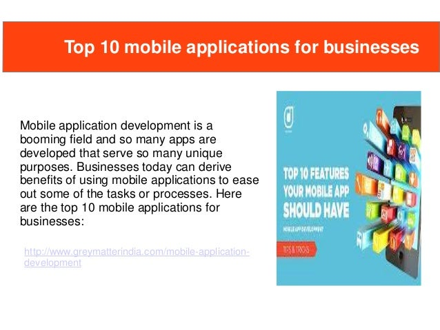 Top 10 mobile applications for businesses