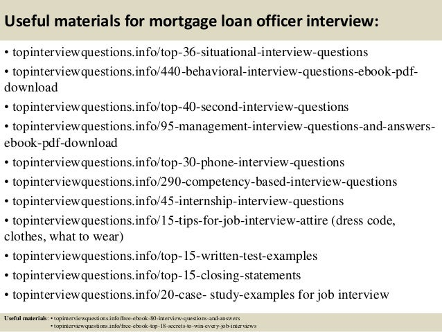 Mortgage Loan Officer Interview Questions And Answers
