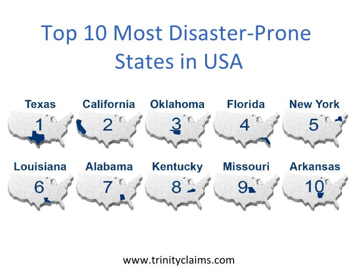 Top 10 Most Disaster-Prone       States in USA       www.trinityclaims.com