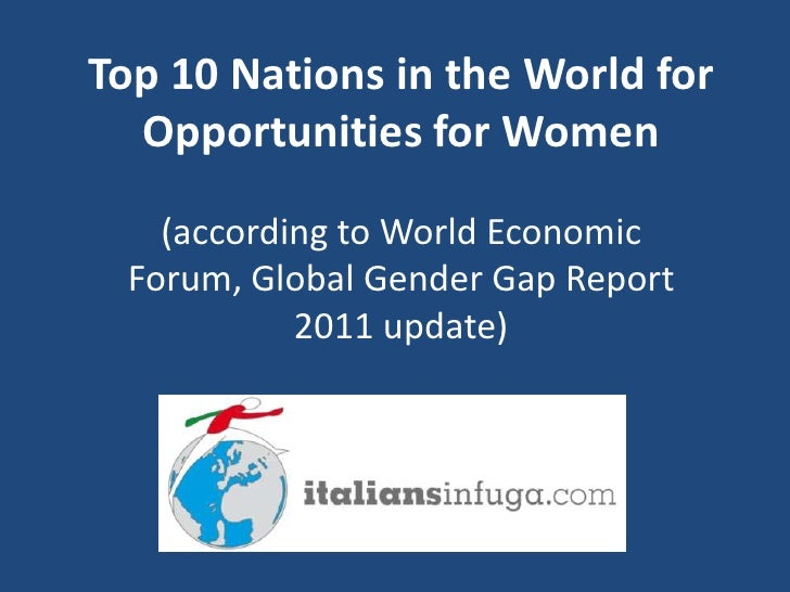 Top 10 Nations in the World for  Opportunities for Women   (according to World Economic Forum, Global Gender Gap Report   ...