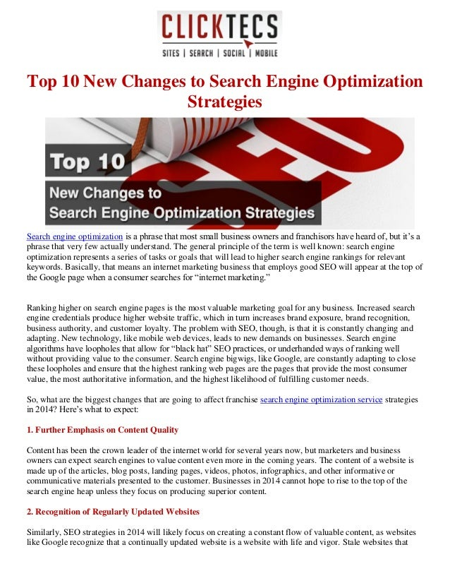 Top 10 New Changes to Search Engine Optimization Strategies