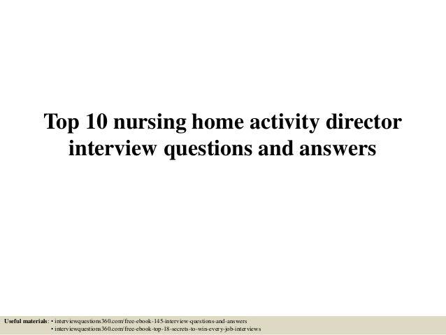 Nursing Home Activities Director Top 10 Nursing Home Activity