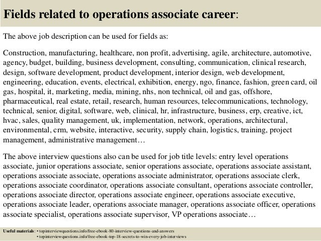 Top 10 operations associate interview questions and answers