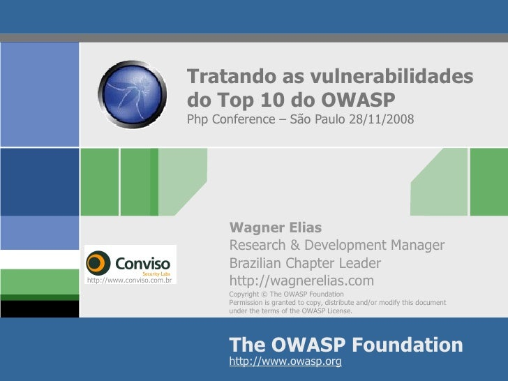Tratando as vulnerabilidades do Top 10 do OWASP Php Conference – São Paulo 28/11/2008 Wagner Elias Research & Development ...