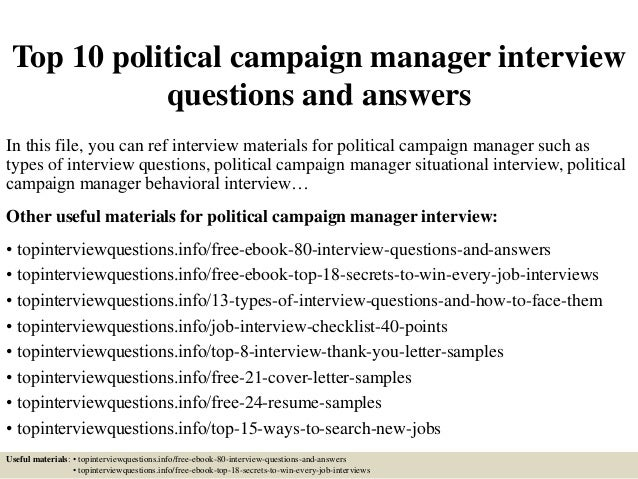 top 10 political caign manager questions and
