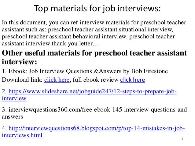 Top 10 preschool teacher assistant interview questions and answers