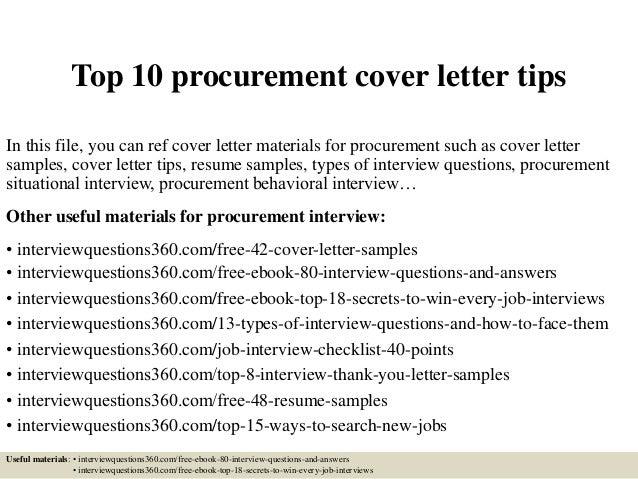 Top 10 Procurement Cover Letter Tips