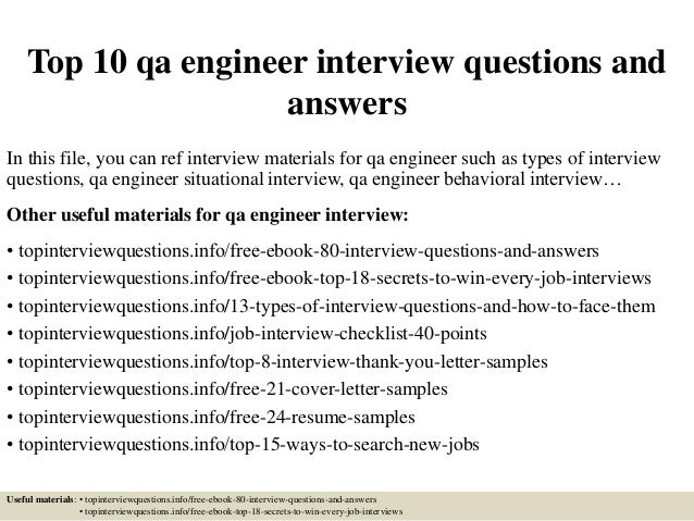 top 10 qa engineer questions and answers